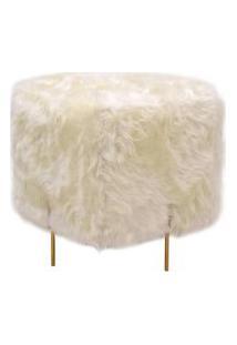 Puff Beagle Quadrado Pele Sintetica Branca Base Dourada 48Cm - 60120 Branco