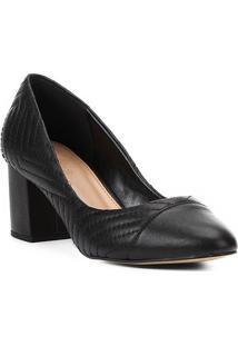 Scarpin Couro Shoestock Salto Médio Matelassê - Feminino-Preto