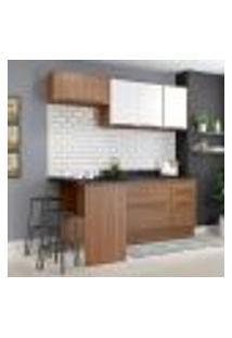 Cozinha Compacta Calábria Com Rodapé, Bancada E Balcão Nogueira/ Branco