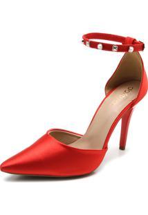 Scarpin Dafiti Shoes Cetim Vermelho