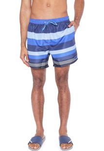 Bermuda Água Calvin Klein Quadrada Listras Azul/Roxa
