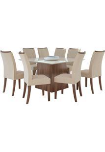 Sala De Jantar Nevada 130Cm Com 8 Cadeiras Imbuia Linho Rinzai Bege