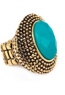 Anel Santa Feminice Betina Pedra Turquesa Ouro Vintage