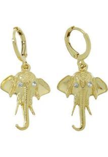 Brinco Kaka Corrêa Argolinha Cabeça De Elefante - Feminino-Dourado