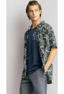Camisa Comfort Masculina Em Tecido De Viscose Estampada