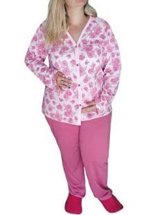 Pijama Plus Size Linda Gestante Longo Do 50 Ao 58 Pós Cirurgias E Amamentação Feminino - Feminino-Rosa Antigo