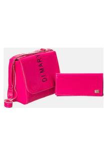 Bolsa Feminina Baú Neon Rosa + Carteira