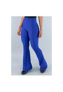 Calça Mvb Modas Flare Pantalona Cintura Alta Moda Azul