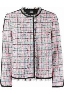 Karl Lagerfeld Jaqueta Summer De Bouclê E Tweed - Branco