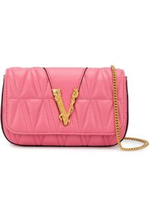 Versace Bolsa Transversal Matelassê Virtus - Rosa