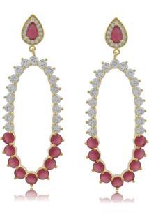 Brinco Priscila Melo Joias Oval Com Zircônias Cristal E Rosa Dourado