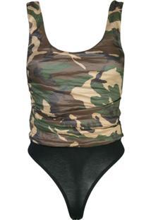 Nicole Miller Camouflage Print Bodysuit - Verde