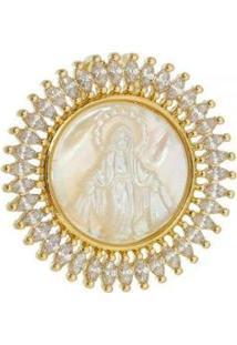 Pingente Aea Cravejado Nossa Senhora Das Graças Folheado Ouro 18K - Feminino-Dourado