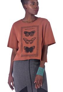 Blusa Equal Moda Inclusiva Borboleta Marrom