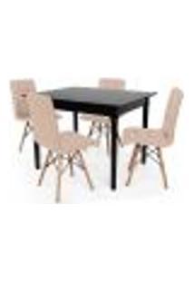 Conjunto Mesa De Jantar Robust 110X90 Preta Com 4 Cadeiras Eiffel Gomos - Nude