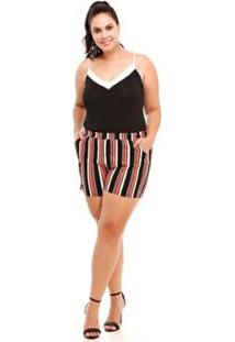Shorts Melinde Plus Size Viscolycra Listrado Feminino - Feminino-Coral
