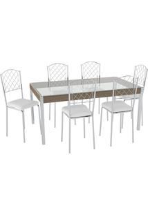 Conjunto Mesa Tampo Vidro C/ 6 Cadeiras Vinil Branco/Cromado Pozza