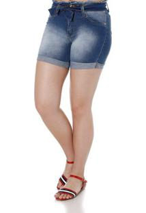 Bermuda Clochard Jeans Feminina Azul