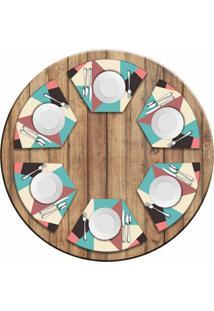 Jogo Americano Love Decor Para Mesa Redonda Wevans Abstract Colors Kit Com 6 Pçs