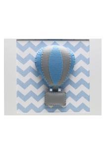 Quadro Decorativo Baláo Chevron Bebê Infantil Menino Potinho De Mel Azul