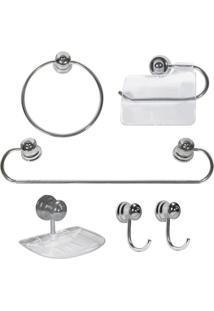 Kit Acessórios Para Banheiro Alumínio Plus Com 06 Peças - 19392 - Sicmol - Sicmol