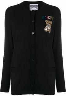 Moschino Cardigan Com Aplicação Teddy - Preto