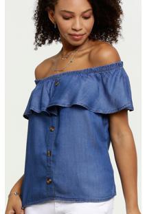 Blusa Feminina Ombro A Ombro Jeans