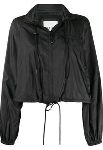 Kenzo Cropped Drawstring Hooded Jacket - Preto