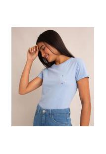 """Camiseta De Algodão """"Livre, Intensa"""" Manga Curta Decote Redondo Azul Claro"""