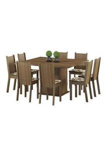 Conjunto Sala De Jantar Madesa Clarice Mesa Tampo De Madeira Com 8 Cadeiras Rustic/Floral Hibiscos Rustic/Floral Hibiscos