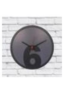 Relógio De Parede Sala Madeira Básico 6 Cor Cinza 30X30X2Cm
