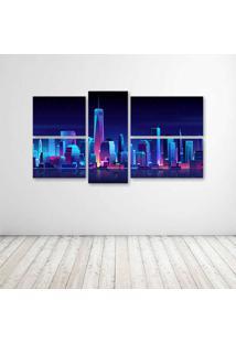 Quadro Decorativo - New York Buildings City Night - Composto De 5 Quadros