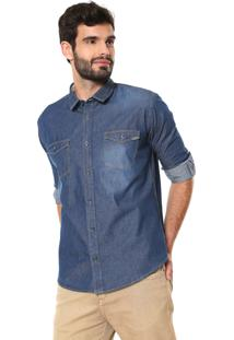 Camisa Jeans Reserva Reta Ml Azul