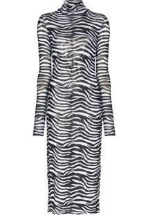 Staud Vestido Com Estampa De Zebra - Preto