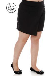 Short-Saia De Tecido Plus Size Feminino Preto