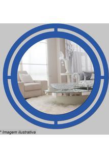 Espelho Círculo- Espelhado & Azul- Ø29,5X5Cm- Cicia Laser