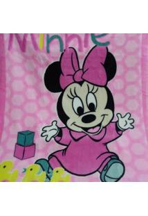 Cobertor Infantil Jolitex Raschel Minnie Brincando Rosa
