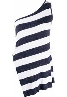 Balmain Blusa Ombro A Ombro Listrada - Azul
