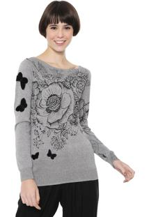 Suéter Desigual Tricot Strass Prata