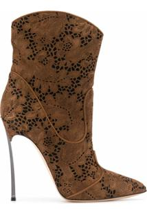 Casadei Ankle Boot Com Renda Floral - Marrom