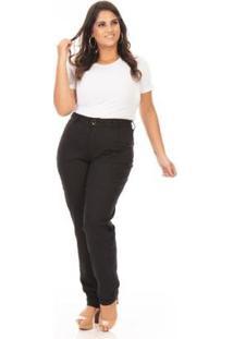 Calça Jeans Confidencial Extra Plus Size Reta Feminina - Feminino-Preto