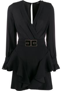 Elisabetta Franchi Vestido Decote Em V Com Cinto E Logo - Preto