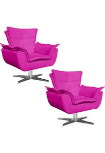 Kit 02 Poltronas Decorativas Gran Opala Base Estrela Em Aço Cromado Suede Pink - D'Rossi