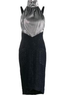 Karl Lagerfeld Vestido Midi Frente Única - Prateado