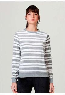 Blusão Básico Feminino Em Plush Listrado Off-White