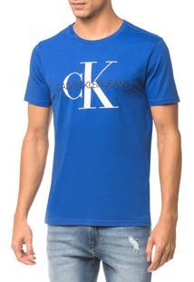 Camiseta Ckj Mc Est Ck - Azul Médio - P