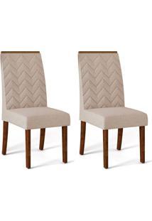 Conjunto Com 2 Cadeiras De Jantar Laura Trufa E Creme
