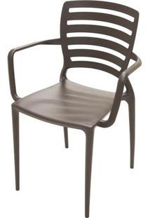 Cadeira Com Braco Sofia Encosto Vazado Horizontal Cor Marrom - 26156 Sun House