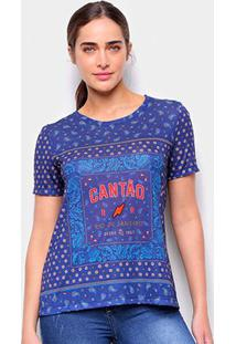 Camiseta T-Shirt Cantão Classic Bandana Tee Feminina - Feminino-Azul Escuro