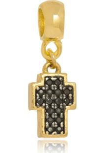 Pingente Boca Santa Semijoias Crucifixo Italia Negra - Ouro Amarelo